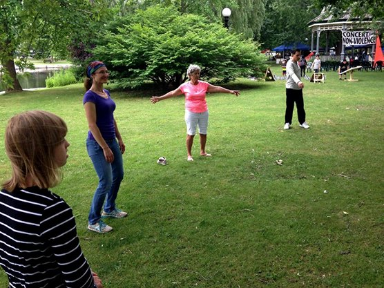 People practicing Qi Gong on the grass