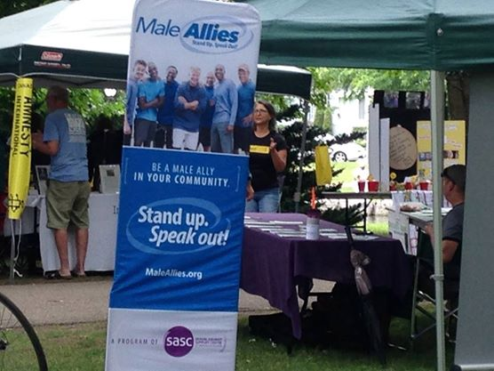 The booth for Male Allies and SASCWR