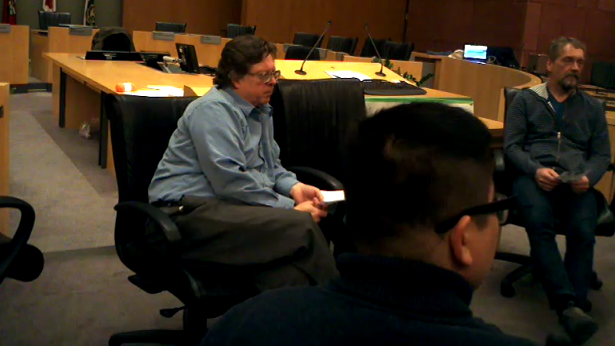"Bob, Dinh and Matt talk about money in the discussion group at the #UsuryFree presentation ""An Inconvenient Truth About Money"" in the Kitchener City Hall council chamber on Wednesday, 17 November 2017"