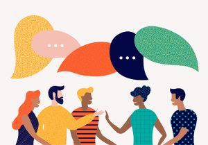 illustration of five people with speech bubbles