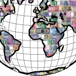 The world with each country as money