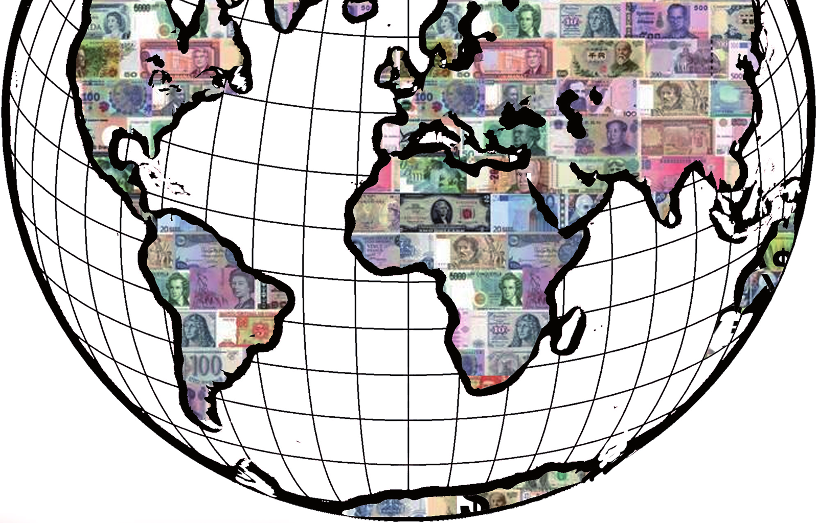 The world with countries as money